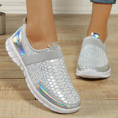 Women's Microfiber Flat Heel Flats Low Top Round Toe Sneakers Slip On With Sparkling Glitter shoes