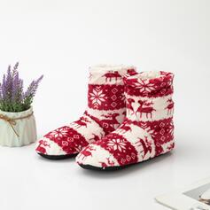 Femmes PU Talon plat Bottes neige bout rond Bottes d'hiver avec La copie Animale Broderie chaussures