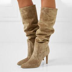 Femmes Suède Talon stiletto Bottes mi-mollets Bout pointu avec Plissé Couleur unie chaussures