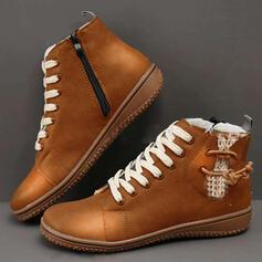 Femmes PU Talon plat Bottines Bottes neige bout rond avec Dentelle Couleur unie chaussures