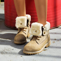Femmes PU Talon bottier Martin bottes bout rond avec Dentelle chaussures