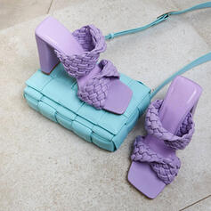 Femmes PU Talon stiletto Sandales Escarpins À bout ouvert Bout carré avec Ouvertes chaussures