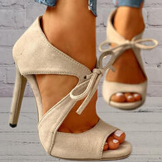 Women's Suede Chunky Heel Sandals Pumps Peep Toe Heels Round Toe With Lace-up Hollow-out Solid Color shoes