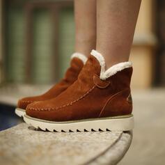 Femmes Suède Talon compensé Bottes d'hiver Bottes neige avec Couleur unie chaussures