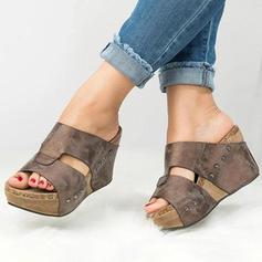 Femmes PU Talon compensé Compensée avec Rivet chaussures