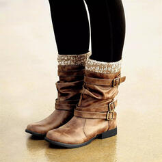 Femmes PU Talon plat Bottes Bottes mi-mollets avec Boucle chaussures