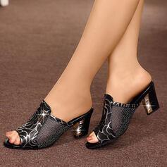 Femmes Cuir en microfibre Talon bas Sandales Chaussons avec Paillette chaussures
