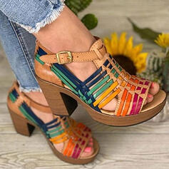 Women's PU Chunky Heel Sandals Pumps Peep Toe With Buckle Splice Color shoes