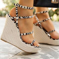 Women's Microfiber Wedge Heel Sandals Pumps Wedges Peep Toe With Splice Color shoes