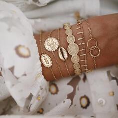 Exotique Style Vintage Bohème En couches Alliage avec Coquille Pièce de monnaie Bracelets (Lot de 6)