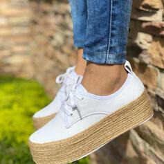 Femmes PU Chaussures plates bout rond avec Dentelle chaussures