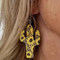 Tournesol Cactus Alliage PU Femmes Boucles d'oreilles 2 PCS