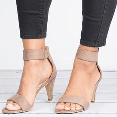 Women's Fabric Sandals Pumps Peep Toe Heels With Zipper shoes