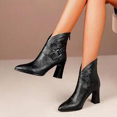 Femmes PU Talon bottier Bottines Bout pointu avec Boucle Zip Dentelle chaussures