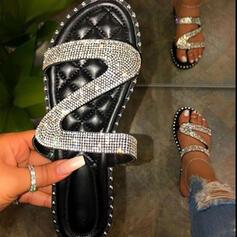Women's PU Flat Heel Sandals Flats Peep Toe Slippers Round Toe With Rhinestone Sparkling Glitter shoes