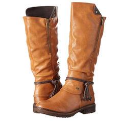 Femmes PU Talon bas Bottes mi-mollets Bottes cavalières bout rond avec Zip Dentelle chaussures