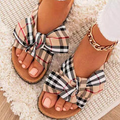 Women's Cloth Flat Heel Sandals Flats Peep Toe Slippers Round Toe With Bowknot Splice Color Striped shoes