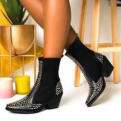 Femmes PU Talon bottier Bottes mi-mollets Bout pointu avec Strass Couleur d'épissure chaussures