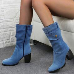 Femmes PU Talon bottier Escarpins Bottes Bottes mi-mollets avec Zip chaussures