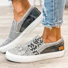 Femmes Toile Talon plat Low Top Glisser sur avec La copie Animale Élastique chaussures
