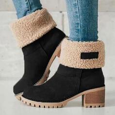 Femmes Suède Talon bottier Bottines Bottes neige bout rond Bottes d'hiver avec Couleur d'épissure Respirant chaussures