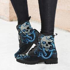 Femmes PU Talon bottier Bottes mi-mollets Martin bottes bout rond avec La copie Animale Couleur d'épissure chaussures
