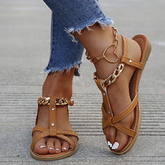 Women's PU Flat Heel Sandals Flats Peep Toe With Buckle Hollow-out shoes