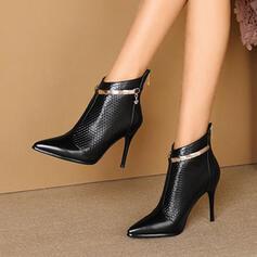Femmes PU Talon stiletto Bottines Talons Bout pointu avec Paillette Couleur unie chaussures