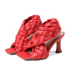 Femmes PU Talon stiletto Sandales Escarpins À bout ouvert Bout carré avec Ouvertes Lanière tressé chaussures