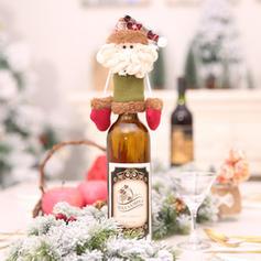 Noël joyeux Noël Bonhomme de neige Renne Père Noël Tissu non tissé Couverture de bouteille de vin