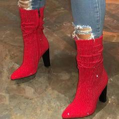 Femmes Suède Talon bottier Bottes mi-mollets Bout pointu avec Strass chaussures