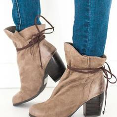 Femmes Suède Talon bottier Martin bottes bout rond avec Dentelle chaussures