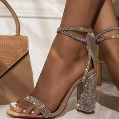 Women's Leatherette Chunky Heel Sandals Peep Toe Heels With Rhinestone Hollow-out shoes