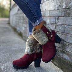 Femmes PU Talon bottier Bottes mi-mollets bout rond avec Boucle Fausse Fourrure chaussures