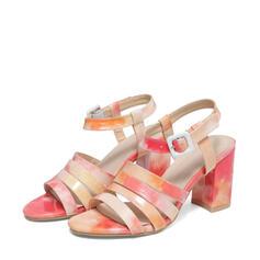 Femmes PU Talon stiletto Sandales Escarpins À bout ouvert Bout carré avec Boucle Ouvertes chaussures