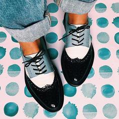 Femmes PU Talon plat Chaussures plates avec Dentelle Couleur d'épissure chaussures