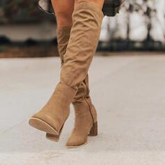Femmes Suède Talon stiletto Bottes hautes avec Zip chaussures