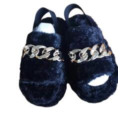 Women's Fake fur Flat Heel Sandals Peep Toe Slippers With Chain shoes