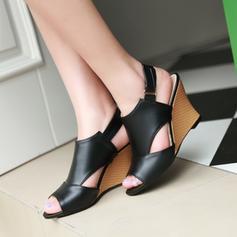 Femmes Similicuir Talon compensé Sandales Compensée À bout ouvert Escarpins avec Ouvertes chaussures