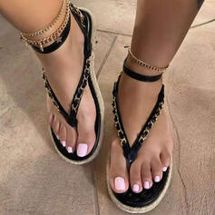 Women's PU Flat Heel Sandals Peep Toe Flip-Flops With Braided Strap Solid Color shoes