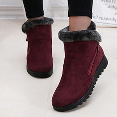 Femmes Suède Talon plat Bottines Bottes neige bout rond avec Zip Fausse Fourrure Couleur unie chaussures