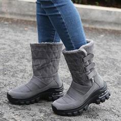 Femmes Microfibre Talon plat Bottes mi-mollets Bottes neige bout rond avec Velcro Couleur unie chaussures