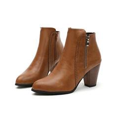 Femmes Similicuir Talon bottier Bottines Bout pointu avec Zip Couleur unie chaussures