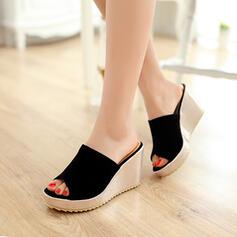 Femmes Suède Talon compensé Sandales Compensée Chaussons avec Autres chaussures