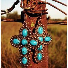 élégant Croix Boho Alliage Turquoise Femmes Boucles d'oreilles 2 PCS