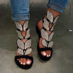 Femmes Similicuir Talon plat Sandales À bout ouvert Escarpins avec Strass chaussures