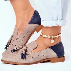Femmes PU Talon plat Chaussures plates avec Tassel Couleur d'épissure chaussures