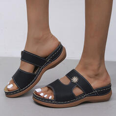 Women's PU Wedge Heel Sandals Platform Wedges Peep Toe Slippers With Solid Color shoes
