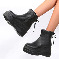 Women's Leatherette Wedge Heel Martin Boots With Zipper Lace-up shoes
