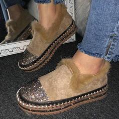 Femmes Suède Talon plat Chaussures plates bout rond Glisser sur avec Paillette Fausse Fourrure chaussures